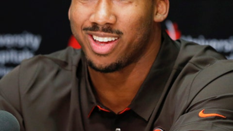 Cleveland Browns' Myles Garrett, selected No. 1 overall in the NFL draft, answers questions during a news conference at the footbal team's training facility, Friday, April 28, 2017, in Berea, Ohio. Garrett played defensive end at Texas A&M. (AP Photo/Ron Schwane)