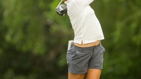 IRVING, TX - APRIL 28:  Lydia Ko of New Zealand plays her tee shot at the seventh hole during the second round of the Volunteers of America North Texas Shootout at Las Colinas Country Club on April 28, 2017 in Irving, Texas. (Photo by Darren Carroll/Getty Images)
