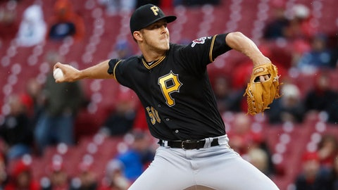 Pittsburgh Pirates starter Jameson Taillon pitches during the first inning of the team's baseball game against the Cincinnati Reds, Wednesday, May 3, 2017, in Cincinnati. (AP Photo/John Minchillo)