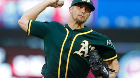 Oakland Athletics pitcher Kendall Graveman throws against the Minnesota Twins in the first inning of a baseball game, Wednesday, May 3, 2017, in Minneapolis. (AP Photo/Jim Mone)