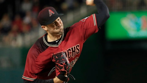 Arizona Diamondbacks starting pitcher Robbie Ray (38) throws a pitch during the fifth inning of a baseball game against the Washington Nationals in Washington, Wednesday, May 3, 2017. (AP Photo/Manuel Balce Ceneta)
