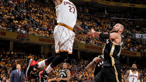 CLEVELAND, OH - MAY 3:  LeBron James #23 of the Cleveland Cavaliers dunks against the Toronto Raptors during Game Two of the Eastern Conference Semifinals of the 2017 NBA Playoffs on May 3, 2017 at Quicken Loans Arena in Cleveland, Ohio. NOTE TO USER: User expressly acknowledges and agrees that, by downloading and/or using this photograph, user is consenting to the terms and conditions of the Getty Images License Agreement. Mandatory Copyright Notice: Copyright 2017 NBAE (Photo by David Liam Kyle/NBAE via Getty Images)