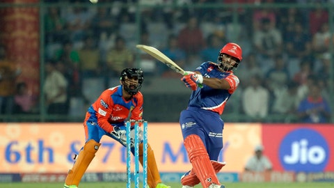 Delhi Daredevils' Rishab Pant plays a shot during the Indian Premier League (IPL) cricket match against Gujarat Lions in New Delhi, India, Thursday, May 4, 2017. (AP Photo/Tsering Topgyal)