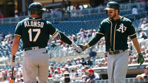Oakland Athletics' Matt Joyce, right, is congratulated by Yonder Alonzo after scoring on an RBI double by Khris Davis, off Minnesota Twins pitcher Kyle Gibson, in the first inning of a baseball game Thursday, May 4, 2017, in Minneapolis. (AP Photo/Jim Mone)