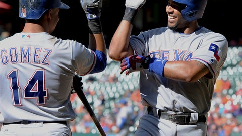 Texas Rangers' Elvis Andrus, right, celebrates his solo home run against the Houston Astros with Carlos Gomez in the ninth inning of a baseball game Thursday, May 4, 2017, in Houston. (AP Photo/George Bridges)