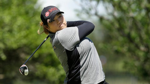Ariya Jutanugarn of Thailand watches a tee shot during the LPGA Texas Shootout golf tournament in Irving,Texas Sunday, April 30, 2017. (AP Photo/LM Otero)