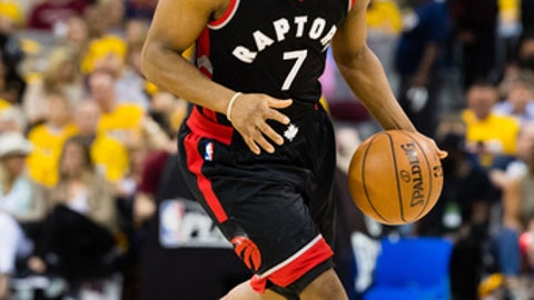 CLEVELAND, OH - MAY 1: Kyle Lowry #7 of the Toronto Raptors drives down court during the first half of Game One of the NBA Eastern Conference semifinals against the Cleveland Cavaliers at Quicken Loans Arena on May 1, 2017 in Cleveland, Ohio. NOTE TO USER: User expressly acknowledges and agrees that, by downloading and or using this photograph, User is consenting to the terms and conditions of the Getty Images License Agreement. (Photo by Jason Miller/Getty Images)