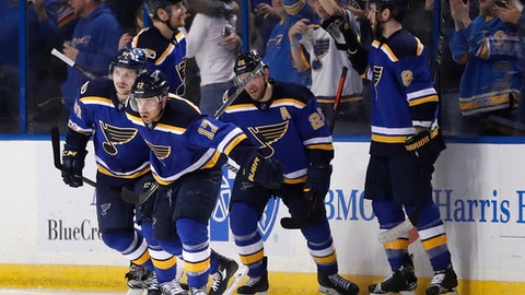 St. Louis Blues left wing Jaden Schwartz (17) and teammates celebrate after Schwartz scored a goal against the Nashville Predators during the third period in Game 5 of an NHL hockey second-round playoff series Friday, May 5, 2017, in St. Louis. (AP Photo/Jeff Roberson)