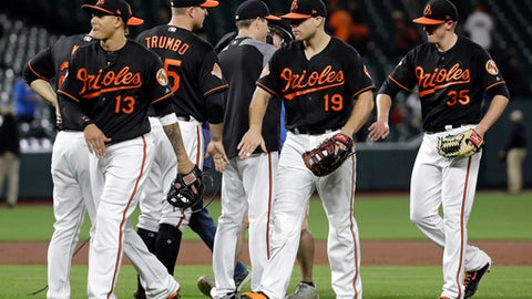 Baltimore Orioles' third baseman Manny Machado (13), first baseman Chris Davis (19) and relief pitcher Brad Brach (35) celebrate after a baseball game against the Chicago White Sox in Baltimore, Friday, May 5, 2017. (AP Photo/Patrick Semansky)