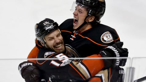 Anaheim Ducks center Rickard Rakell, right, celebrates after scoring with center Ryan Getzlaf during the third period in Game 5 of a second-round NHL hockey Stanley Cup playoff series against the Edmonton Oilers in Anaheim, Calif., Friday, May 5, 2017. (AP Photo/Chris Carlson)