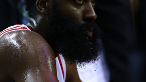 HOUSTON, TX - MAY 05:  James Harden #13 of the Houston Rockets reacts against the San Antonio Spurs during Game Three of the NBA Western Conference Semi-Finals at Toyota Center on May 5, 2017 in Houston, Texas.  NOTE TO USER: User expressly acknowledges and agrees that, by downloading and or using this photograph, User is consenting to the terms and conditions of the Getty Images License Agreement.  (Photo by Ronald Martinez/Getty Images)