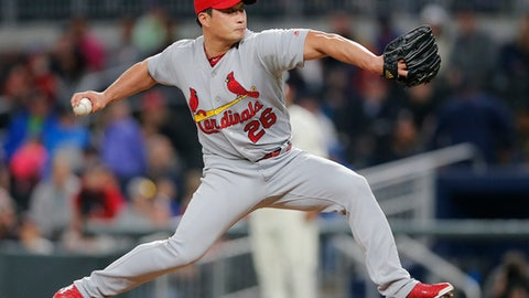 St. Louis Cardinals relief pitcher Seung-Hwan Oh (26) works in the ninth inning of a baseball game against the Atlanta Braves, Saturday, May 6, 2017, in Atlanta. (AP Photo/John Bazemore)