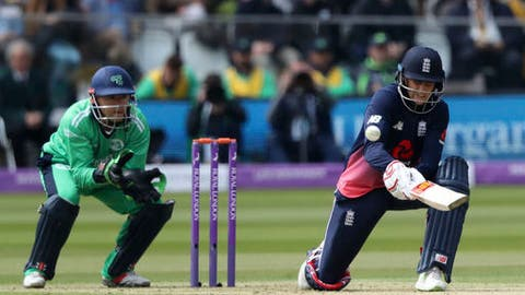 England's Joe Root bats, during the second One Day International cricket match between England and Ireland, at Lord's, in London, Sunday May 7, 2017. (John Walton/PA via AP)
