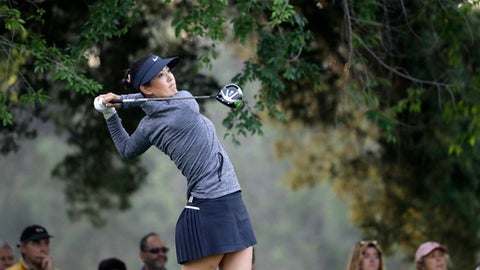 Michelle Wie of the U.S. tees off on the 4th hole during the semifinal of the Lorena Ochoa Invitational at Mexico Golf Club in Mexico City, Sunday, May 7, 2017. The invitational, the tenth of the 2017 LPGA tour, is the tour's first Match Play event since 2012. (AP Photo/Rebecca Blackwell)