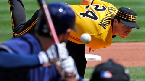 Pittsburgh Pirates starting pitcher Tyler Glasnow (24) delivers in the fourth inning of a baseball game against the Milwaukee Brewers in Pittsburgh, Sunday, May 7, 2017. (AP Photo/Gene J. Puskar)