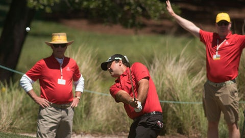 Reed Patrick hits from a bunker on the second hole during the final round of the Wells Fargo Championship golf tournament at Eagle Point Golf Club in Wilmington, N.C., Sunday, May 7, 2017. (AP Photo/Mike Spencer)
