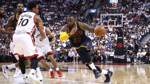 TORONTO, CANADA - MAY 7: LeBron James #23 of the Cleveland Cavaliers drives to the basket during the game against the Toronto Raptors in Game Four of the Eastern Conference Semifinals during the 2017 NBA Playoffs on May 7, 2017 at the Air Canada Centre in Toronto, Ontario, Canada.  NOTE TO USER: User expressly acknowledges and agrees that, by downloading and or using this Photograph, user is consenting to the terms and conditions of the Getty Images License Agreement.  Mandatory Copyright Notice: Copyright 2017 NBAE (Photo by Nathaniel S. Butler/NBAE via Getty Images)
