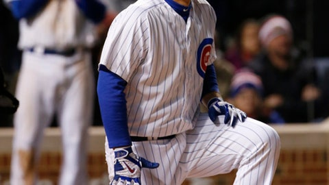 Chicago Cubs' Anthony Rizzo reacts after being hit by a pitch from New York Yankees pitcher Aroldis Chapman during the ninth inning of an interleague baseball game Sunday, May 7, 2017 in Chicago. (AP Photo/Nam Y. Huh)