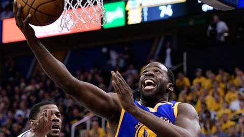 SALT LAKE CITY, UT - MAY 6: Draymond Green #23 of the Golden State Warriors scores a basket in the second half of their 102-91 win over the Utah Jazz in Game Three of the Western Conference Semifinals during the 2017 NBA Playoffs at Vivint Smart Home Arena on May 6, 2017 in Salt Lake City, Utah. NOTE TO USER: User expressly acknowledges and agrees that, by downloading and or using this photograph, User is consenting to the terms and conditions of the Getty Images License Agreement. (Photo by Gene Sweeney Jr/Getty Images)