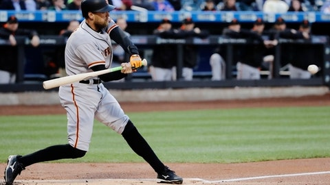 San Francisco Giants' Hunter Pence hits a two run home run during the first inning of a baseball game against the New York Mets, Monday, May 8, 2017, in New York. (AP Photo/Frank Franklin II)