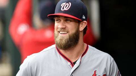 Washington Nationals' Bryce Harper smiles in the dugout before an interleague baseball game against the Baltimore Orioles, Tuesday, May 9, 2017, in Baltimore. (AP Photo/Nick Wass)