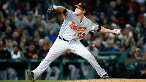 """FILE - This May 2, 2017 file photo shows Baltimore Orioles' Zach Britton pitching during the eighth inning of a baseball game against the Boston Red Sox in Boston. Britton is preparing for a much longer stay on the disabled list this time around after returning too quickly from a forearm injury. """"I can't confirm the exact number of days,"""" Britton told The Associated Press on Tuesday, May 9, 2017. (AP Photo/Michael Dwyer)"""