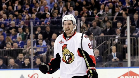 Ottawa Senators' Mark Stone celebrates after scoring a goal during the first period of Game 6 of an NHL hockey Stanley Cup second-round playoff series against the New York Rangers, Tuesday, May 9, 2017, in New York. (AP Photo/Frank Franklin II)
