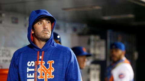 New York Mets pitcher Matt Harvey looks out from the dugout during the team's baseball game against the San Francisco Giants, Tuesday, May 9, 2017, in New York. (AP Photo/Kathy Willens)