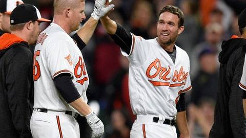 Baltimore Orioles' Mark Trumbo, left, celebrates with J.J. Hardy, right,after an interleague baseball game against the Washington Nationals, Tuesday, May 9, 2017, in Baltimore. Trumbo drove in the winning run. The Orioles won 5-4 in 12 innings. (AP Photo/Nick Wass)