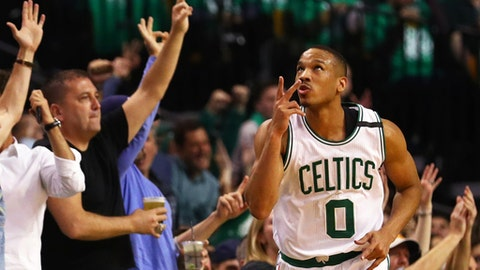 BOSTON, MA - MAY 10: Avery Bradley #0 of the Boston Celtics celebrates after hitting a three point shot against the Washington Wizards during the second quarter of Game Five of the Eastern Conference Semifinals at TD Garden on May 10, 2017 in Boston, Massachusetts. NOTE TO USER: User expressly acknowledges and agrees that, by downloading and or using this Photograph, user is consenting to the terms and conditions of the Getty Images License Agreement. (Photo by Maddie Meyer/Getty Images)BOSTON, MA - MAY 10: during the first quarter of Game Five of the Eastern Conference Semifinals at TD Garden on May 10, 2017 in Boston, Massachusetts. NOTE TO USER: User expressly acknowledges and agrees that, by downloading and or using this Photograph, user is consenting to the terms and conditions of the Getty Images License Agreement. (Photo by Maddie Meyer/Getty Images)