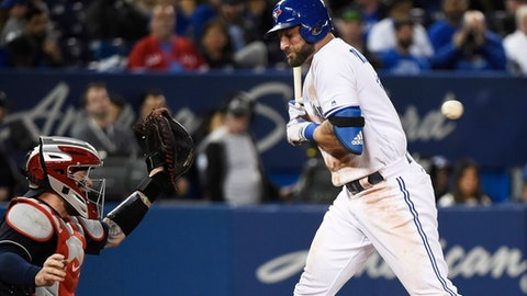 Toronto Blue Jays' Kevin Pillar (11) gets out of the way of a pitch by Cleveland Indians reliever Cody Allen as Indians catcher Roberto Perez watches during the ninth inning of a baseball game Wednesday, May 10, 2017, in Toronto. (Nathan Denette/The Canadian Press via AP)