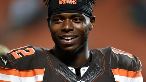 FILE - In this Sept. 1, 2016, file photo, Cleveland Browns wide receiver Josh Gordon walks off the field after an NFL preseason football game, in Cleveland. Former Cleveland Browns receiver Josh Gordon has finished his recent 30-day rehabilitation stay, a person with knowledge of the situation tells The Associated Press. The person spoke Monday, Oct. 31, 2016, on condition of anonymity because of the sensitivity of the situation. (AP Photo/David Richard, File)