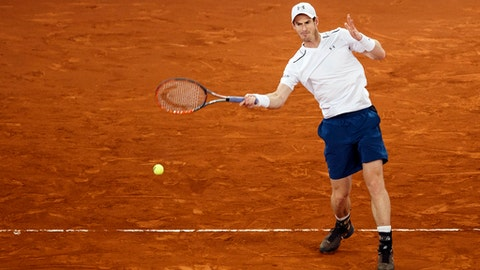 Andy Murray from Britain returns the ball during a Madrid Open tennis tournament match against Borna Coric from Croatia in Madrid, Spain, Thursday, May 11, 2017. (AP Photo/Daniel Ochoa de Olza)