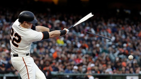 San Francisco Giants' Christian Arroyo breaks his bat as he grounds out against the Cincinnati Reds during the first inning of a baseball game Thursday, May 11, 2017, in San Francisco. (AP Photo/Marcio Jose Sanchez)
