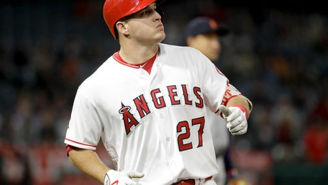 Los Angeles Angels' Mike Trout watches his fly-out against the Detroit Tigers during the eighth inning of a baseball game in Anaheim, Calif., Thursday, May 11, 2017. (AP Photo/Chris Carlson)