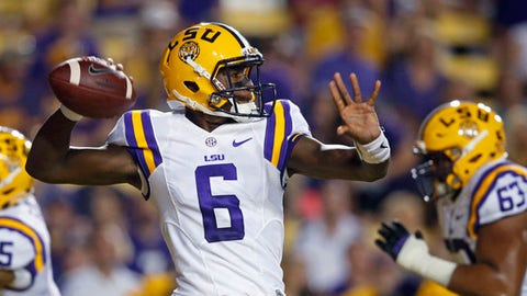 LSU quarterback Brandon Harris (6) passes in the first half of an NCAA college football game against Jacksonville State in Baton Rouge, La., Saturday, Sept. 10, 2016. (AP Photo/Gerald Herbert)