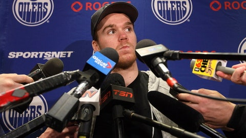 Edmonton Oilers' Connor McDavid speaks to the media during an NHL hockey news conference in Edmonton, Alberta, Friday May 12, 2017. The Oilers lost to the Anaheim Ducks in the second round of the NHL Stanley Cup playoffs. (Jason Franson/The Canadian Press via AP)