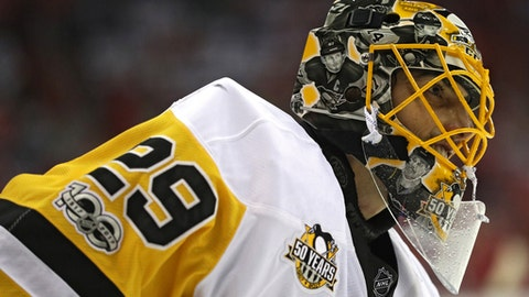 WASHINGTON, DC - MAY 10: Goalie Marc-Andre Fleury #29 of the Pittsburgh Penguins looks on in Game Seven of the Eastern Conference Second Round during the 2017 NHL Stanley Cup Playoffs at Verizon Center on May 10, 2017 in Washington, DC. (Photo by Patrick Smith/Getty Images)