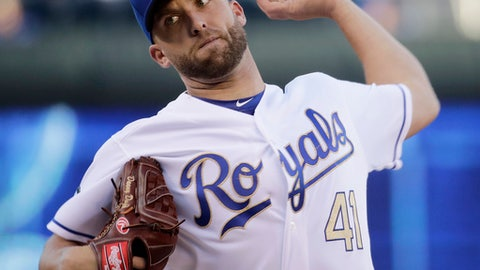 Kansas City Royals starting pitcher Danny Duffy throws during the first inning of a baseball game against the Baltimore Orioles on Friday, May 12, 2017, in Kansas City, Mo. (AP Photo/Charlie Riedel)
