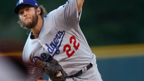 Los Angeles Dodgers starting pitcher Clayton Kershaw throws to a Colorado Rockies batter during the first inning of a baseball game Friday, May 12, 2017, in Denver. (AP Photo/David Zalubowski)