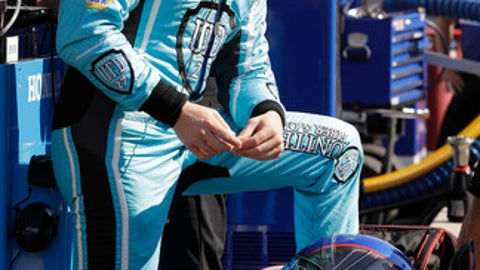 Marco Andretti watches from pit wall during a practice session for the Indianapolis 500 IndyCar auto race at Indianapolis Motor Speedway, Monday, May 15, 2017, in Indianapolis. (AP Photo/Darron Cummings)
