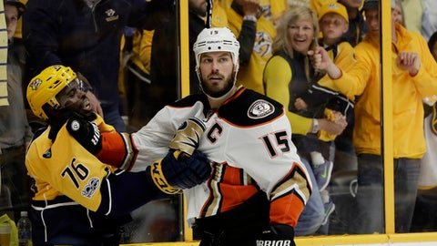 Nashville Predators defenseman P.K. Subban (76) and Anaheim Ducks center Ryan Getzlaf (15) scuffle after the conclusion of Game 3 of the Western Conference final in the NHL hockey Stanley Cup playoffs Tuesday, May 16, 2017, in Nashville, Tenn. The Predators won 2-1. (AP Photo/Mark Humphrey)