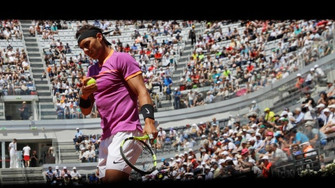 Spain's Rafael Nadal prepares to serve the ball during his match against his fellow-countryman Nicolas Almagro, at the Italian Open tennis tournament, in Rome, Wednesday, May 17, 2017. (AP Photo/Alessandra Tarantino)