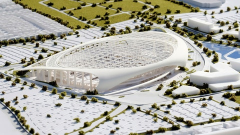 A three-dimensional model of the new Los Angeles Rams stadium is on display during the groundbreaking for the team's new stadium and entertainment district in Inglewood, Calif. on Thursday, Nov. 17, 2016. The project will cost more than $2 billion and is expected to open in August 2019 before hosting the Super Bowl 18 months later. (AP Photo/Richard Vogel)