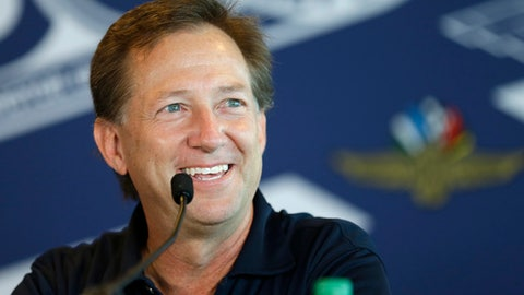 Former race car driver John Andretti talks about his battle with colon cancer during a press conference at Indianapolis Motor Speedway, Thursday, May 18, 2017, in Indianapolis. John Andretti is in the fight of his life. He's battling stage four cancer. (AP Photo/Michael Conroy)