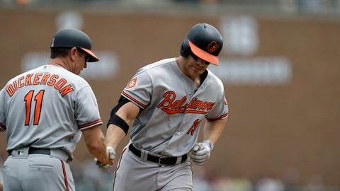 Baltimore Orioles' Chris Davis rounds the bases after a two-run home run during the first inning of a baseball game against the Detroit Tigers, Thursday, May 18, 2017, in Detroit. (AP Photo/Carlos Osorio)