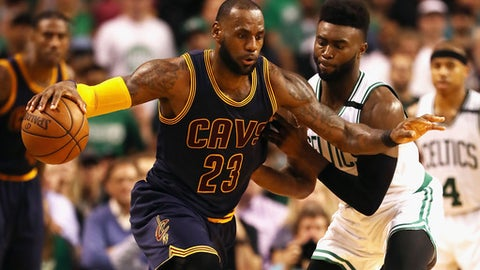 BOSTON, MA - MAY 17:  LeBron James #23 of the Cleveland Cavaliers handles the ball in the second half against the Boston Celtics during Game One of the 2017 NBA Eastern Conference Finals at TD Garden on May 17, 2017 in Boston, Massachusetts. NOTE TO USER: User expressly acknowledges and agrees that, by downloading and or using this photograph, User is consenting to the terms and conditions of the Getty Images License Agreement.  (Photo by Elsa/Getty Images)