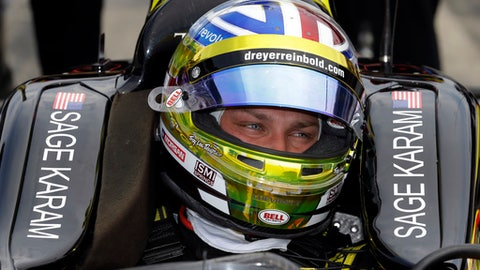 Sage Karam sits in the cockpit of his car during a practice session for the Indianapolis 500 IndyCar auto race at Indianapolis Motor Speedway, Friday, May 19, 2017 in Indianapolis. (AP Photo/Michael Conroy)
