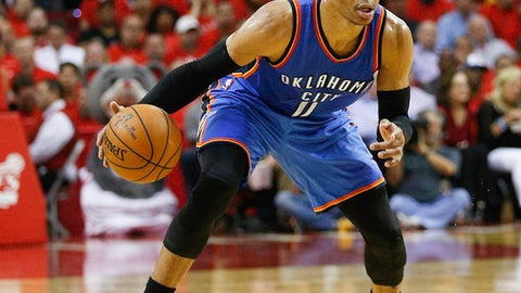 HOUSTON, TX - APRIL 25: Russell Westbrook #0 of the Oklahoma City Thunder brings the ball up the court against the Houston Rockets during Game Five of the Western Conference Quarterfinals game of the 2017 NBA Playoffs at Toyota Center on April 25, 2017 in Houston, Texas. NOTE TO USER: User expressly acknowledges and agrees that, by downloading and/or using this photograph, user is consenting to the terms and conditions of the Getty Images License Agreement.  (Photo by Bob Levey/Getty Images)