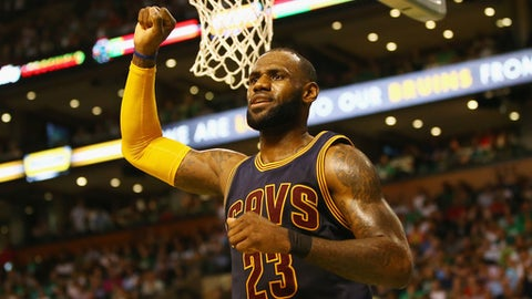 BOSTON, MA - MAY 19:  LeBron James #23 of the Cleveland Cavaliers reacts in the first half against the Boston Celtics during Game Two of the 2017 NBA Eastern Conference Finals at TD Garden on May 19, 2017 in Boston, Massachusetts. NOTE TO USER: User expressly acknowledges and agrees that, by downloading and or using this photograph, User is consenting to the terms and conditions of the Getty Images License Agreement.  (Photo by Adam Glanzman/Getty Images)